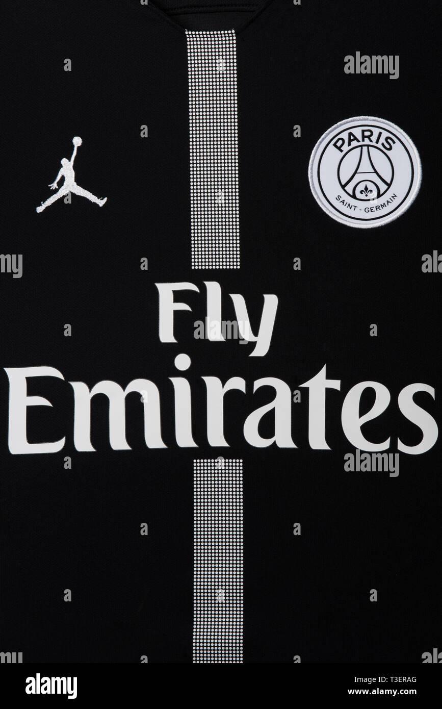 Close Up Of Paris Saint Germain X Jordan Uefa Champions League Jersey 2018 19 Stock Photo Alamy