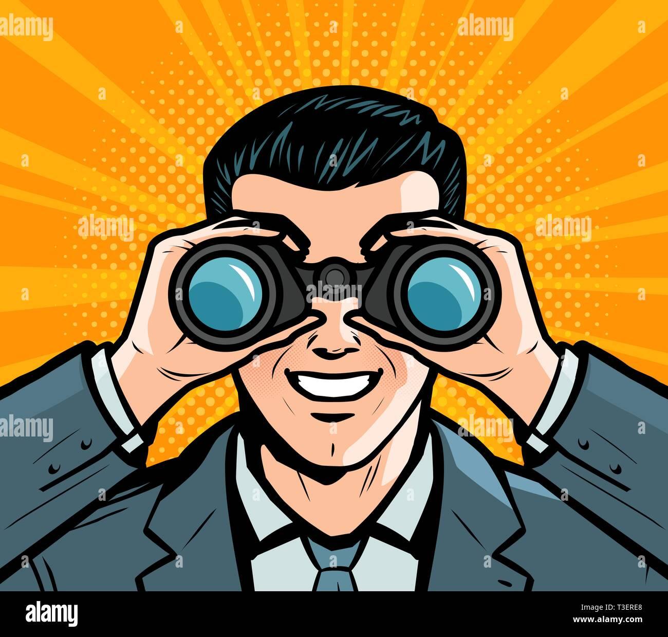 Businessman looking through binoculars. Pop art retro comic style. Cartoon vector illustration Stock Vector
