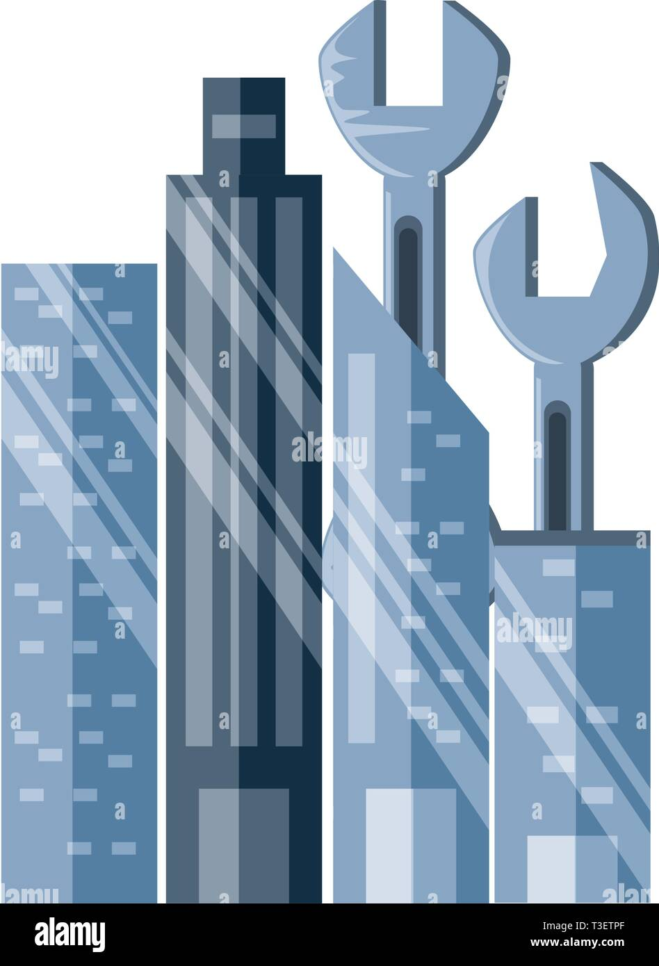 wrenches tools with cityscape vector illustration design Stock Vector
