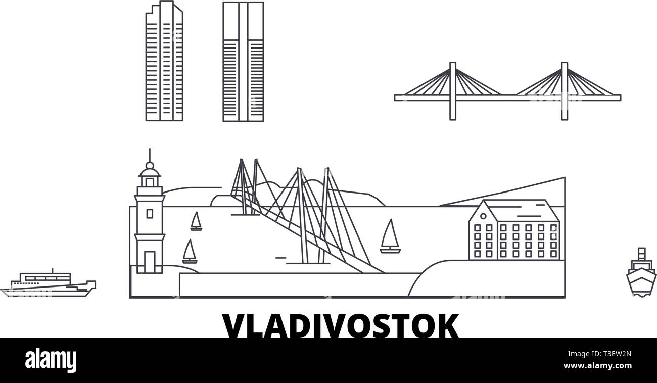 Russia, Vladivostok line travel skyline set. Russia, Vladivostok outline city vector illustration, symbol, travel sights, landmarks. - Stock Vector