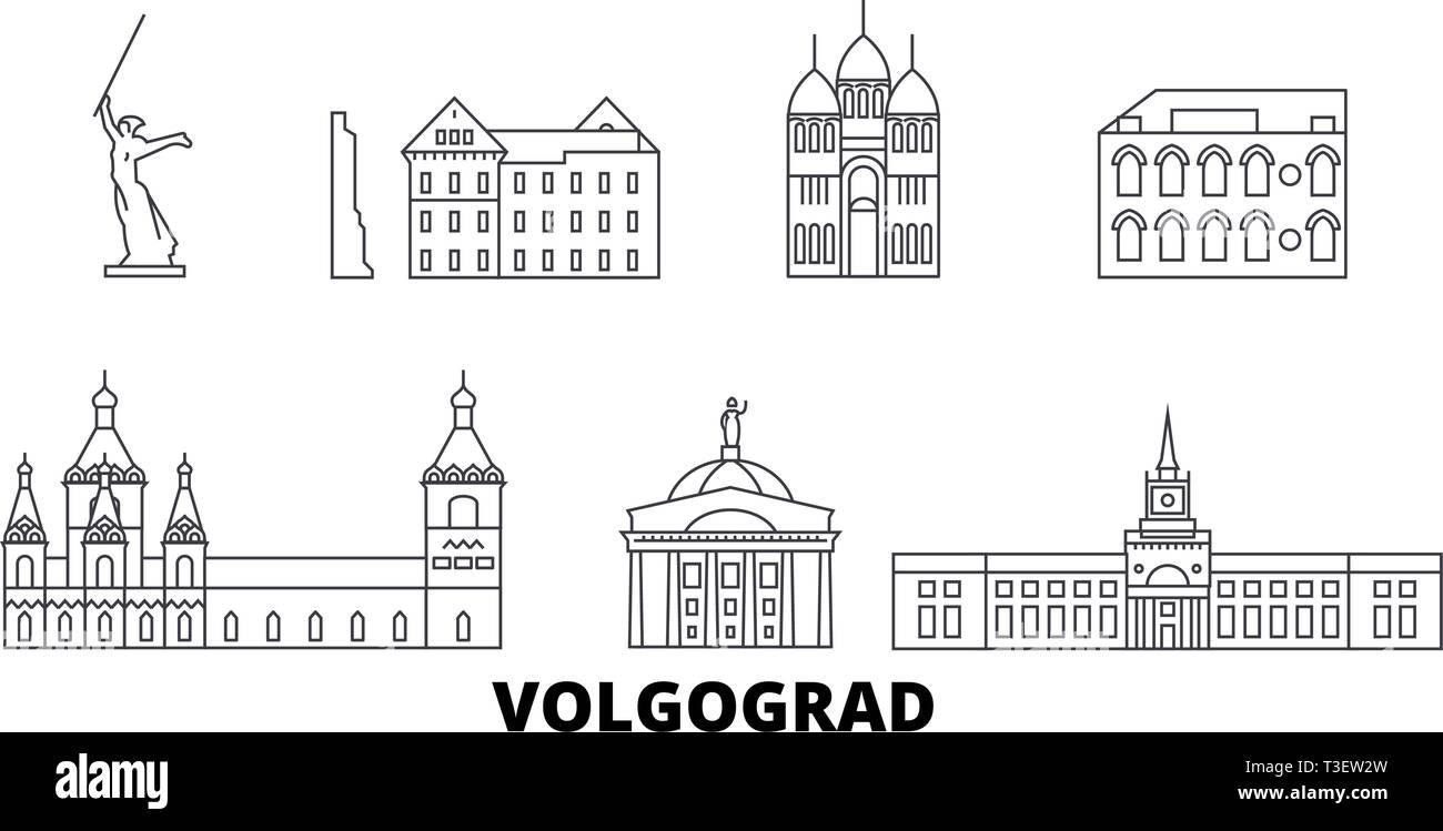 Russia, Volgograd line travel skyline set. Russia, Volgograd outline city vector illustration, symbol, travel sights, landmarks. - Stock Vector
