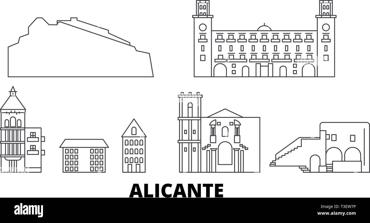 Spain, Alicante line travel skyline set. Spain, Alicante outline city vector illustration, symbol, travel sights, landmarks. - Stock Vector