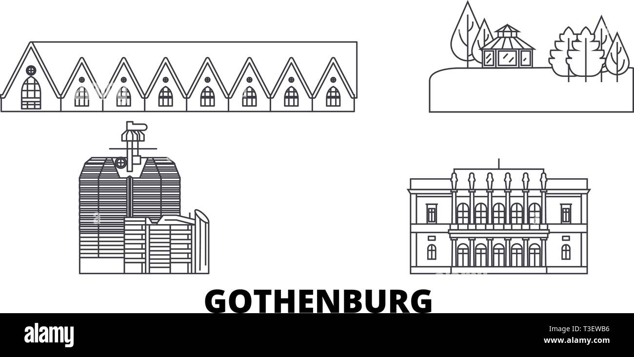 Sweden, Gothenburg line travel skyline set. Sweden, Gothenburg outline city vector illustration, symbol, travel sights, landmarks. - Stock Vector