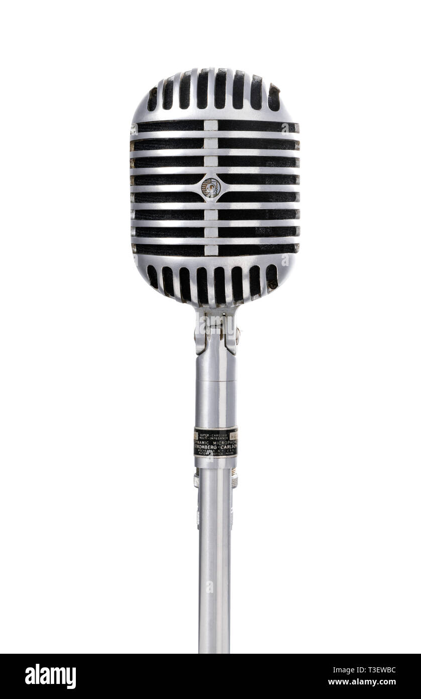 Front view of a vintage microphone Stock Photo 243116368