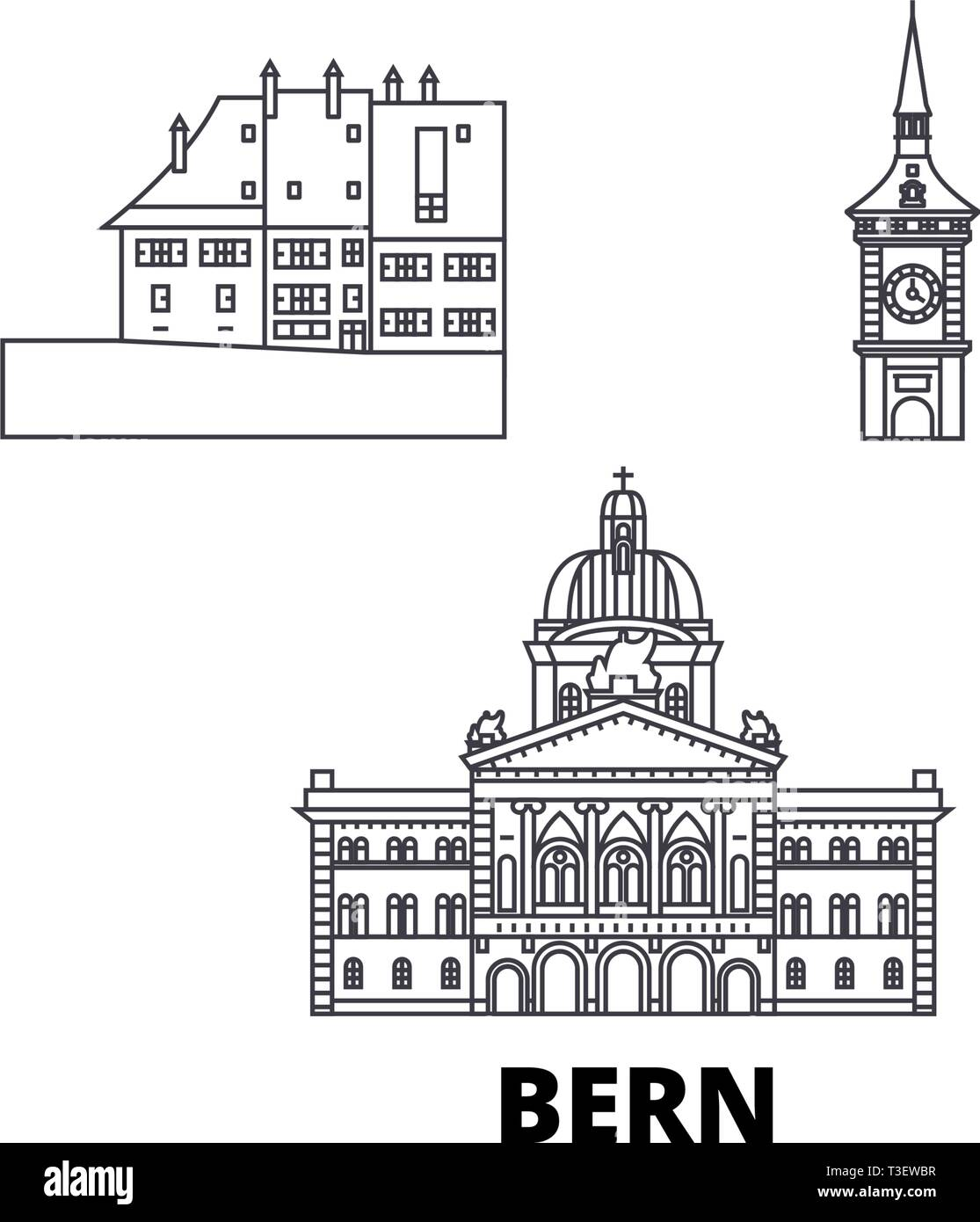 Switzerland, Bern line travel skyline set. Switzerland, Bern outline city vector illustration, symbol, travel sights, landmarks. - Stock Image