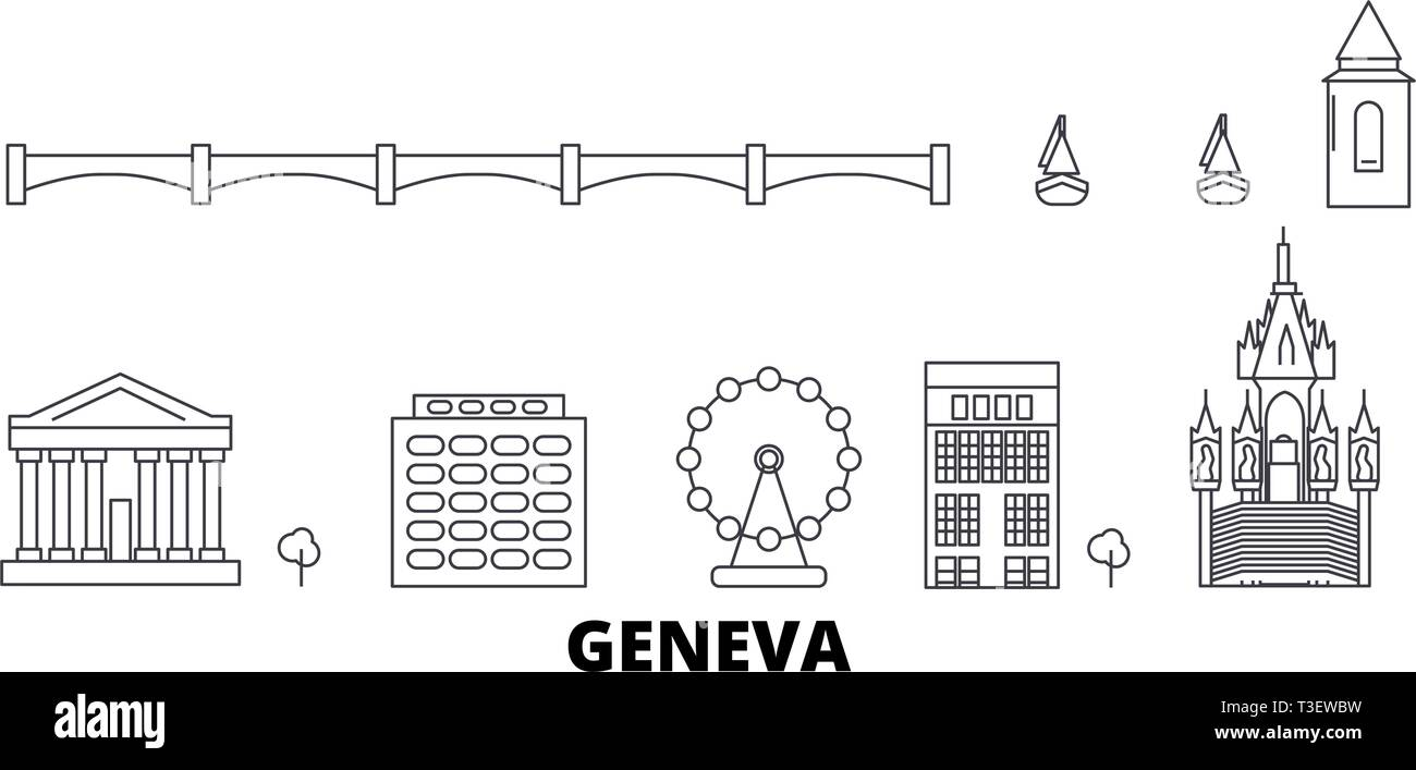 Switzerland, Geneva line travel skyline set. Switzerland, Geneva outline city vector illustration, symbol, travel sights, landmarks. - Stock Vector