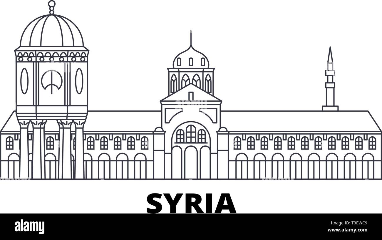 Syria line travel skyline set. Syria outline city vector illustration, symbol, travel sights, landmarks. - Stock Vector
