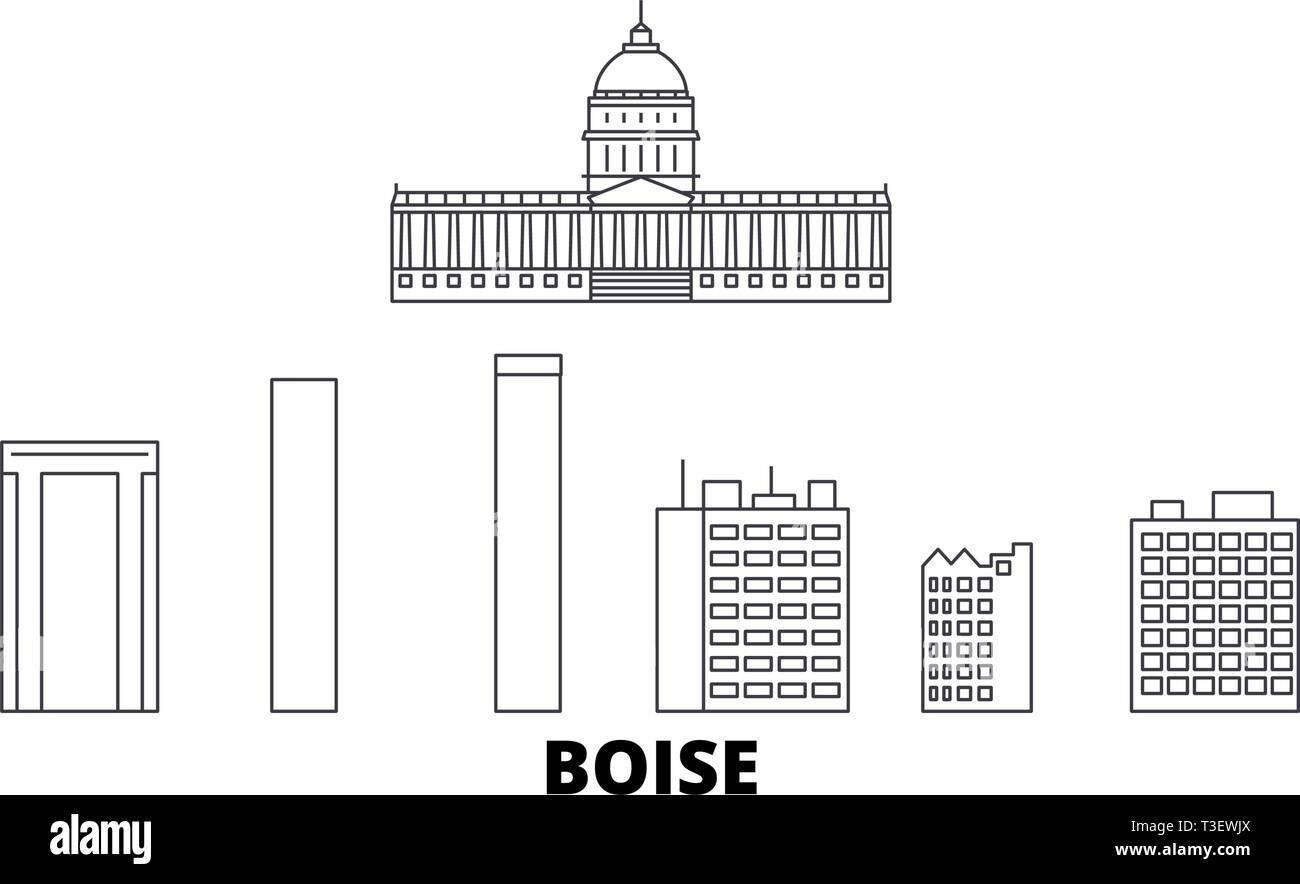 United States, Boise line travel skyline set. United States, Boise outline city vector illustration, symbol, travel sights, landmarks. - Stock Vector