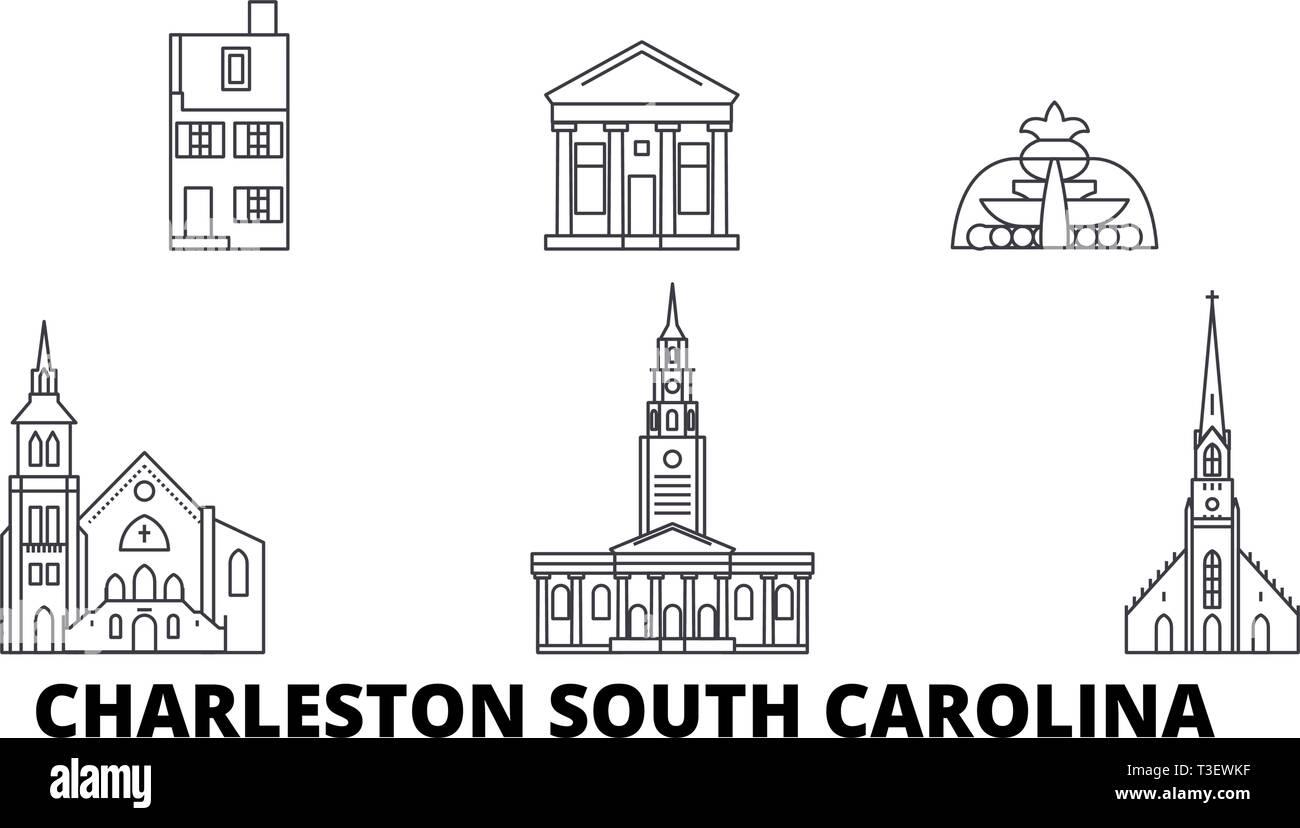 United States, Charleston South Carolina line travel skyline set. United States, Charleston South Carolina outline city vector illustration, symbol - Stock Vector