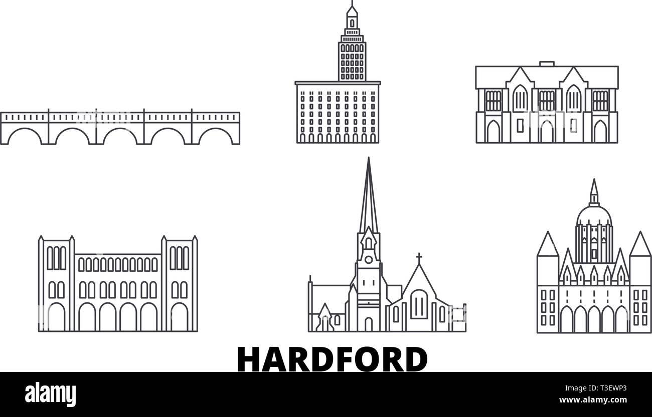 United States, Hartford line travel skyline set. United States, Hartford outline city vector illustration, symbol, travel sights, landmarks. - Stock Vector