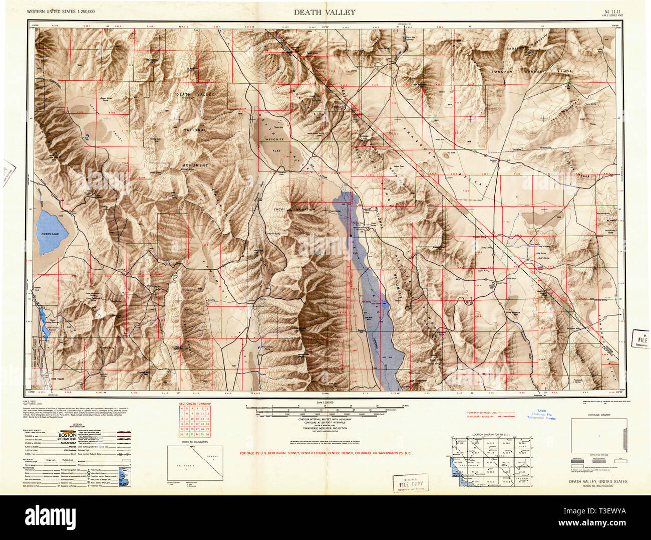 topographic map of death valley Usgs Topo Map California Ca Death Valley 299750 1948 250000