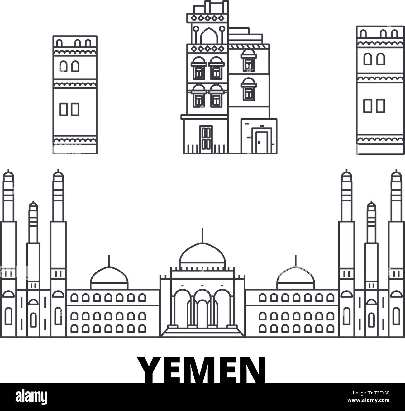Yemen, Sanaa line travel skyline set. Yemen, Sanaa outline city vector illustration, symbol, travel sights, landmarks. Stock Vector