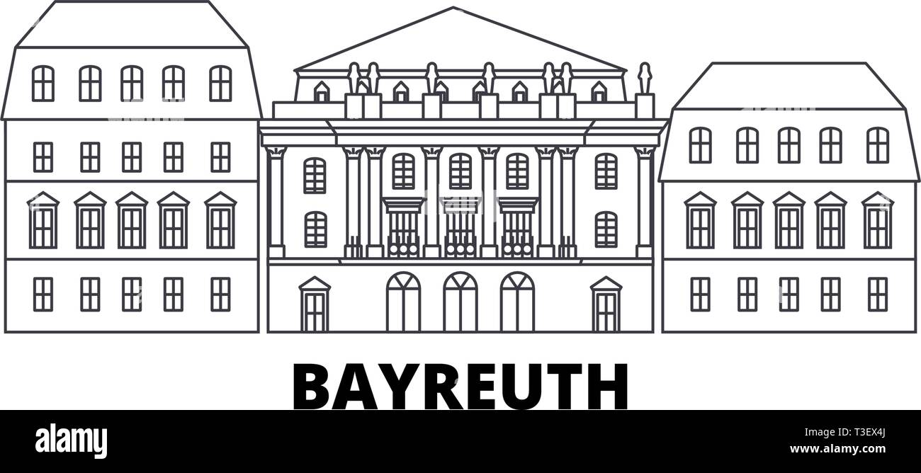 Germany, Bayreuth, Margravial Opera Housebayreuth line travel skyline set. Germany, Bayreuth, Margravial Opera Housebayreuth outline city vector - Stock Vector