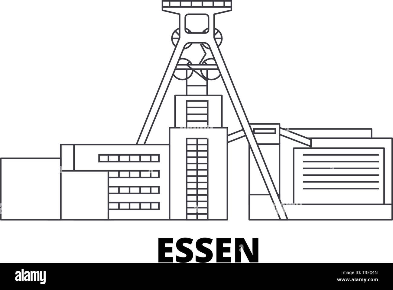 Germany, Essen, Zollverein Coal Mine Industrial Complex line travel skyline set. Germany, Essen, Zollverein Coal Mine Industrial Complex outline city - Stock Vector