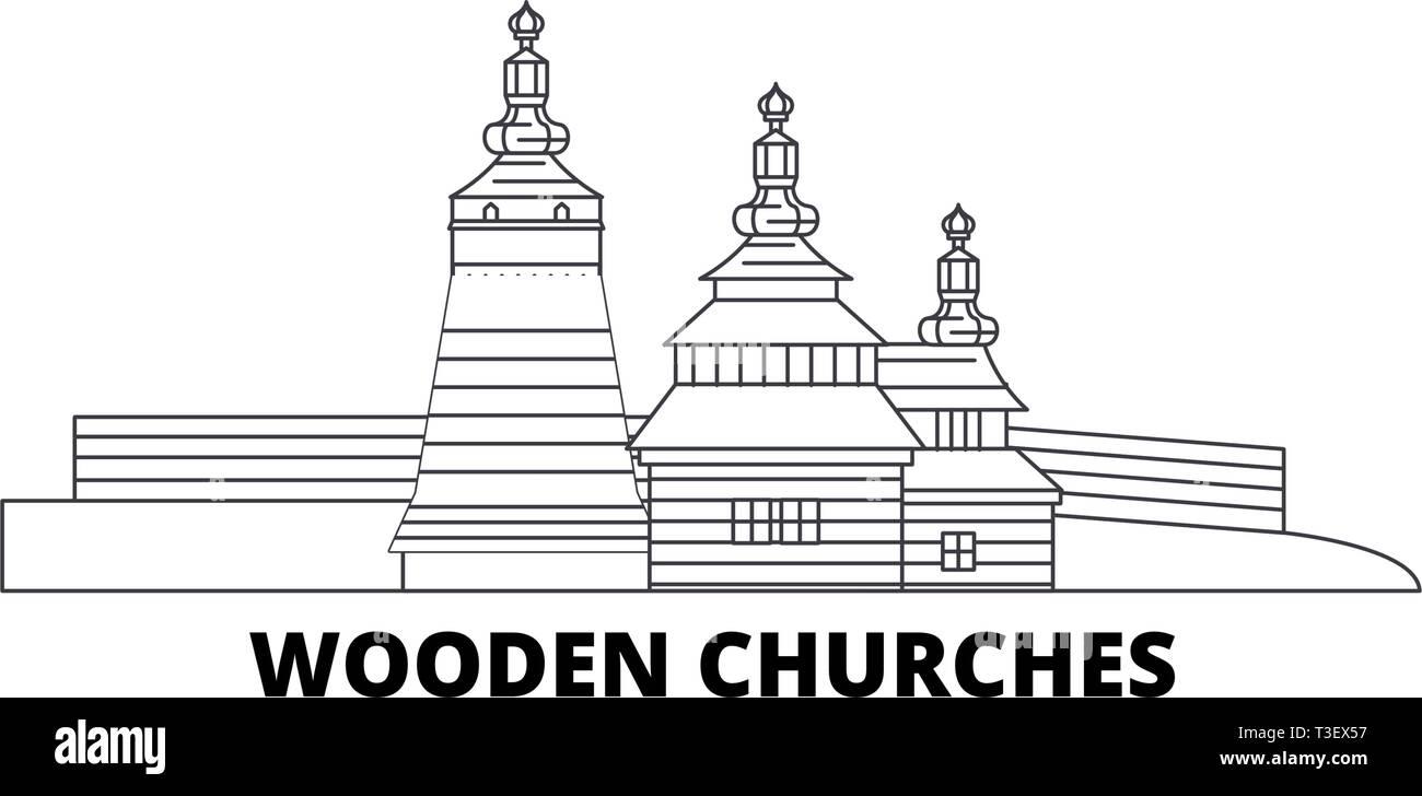 Poland, Wooden Churches In The Carpathian Mountain Area line travel skyline set. Poland, Wooden Churches In The Carpathian Mountain Area outline city Stock Vector