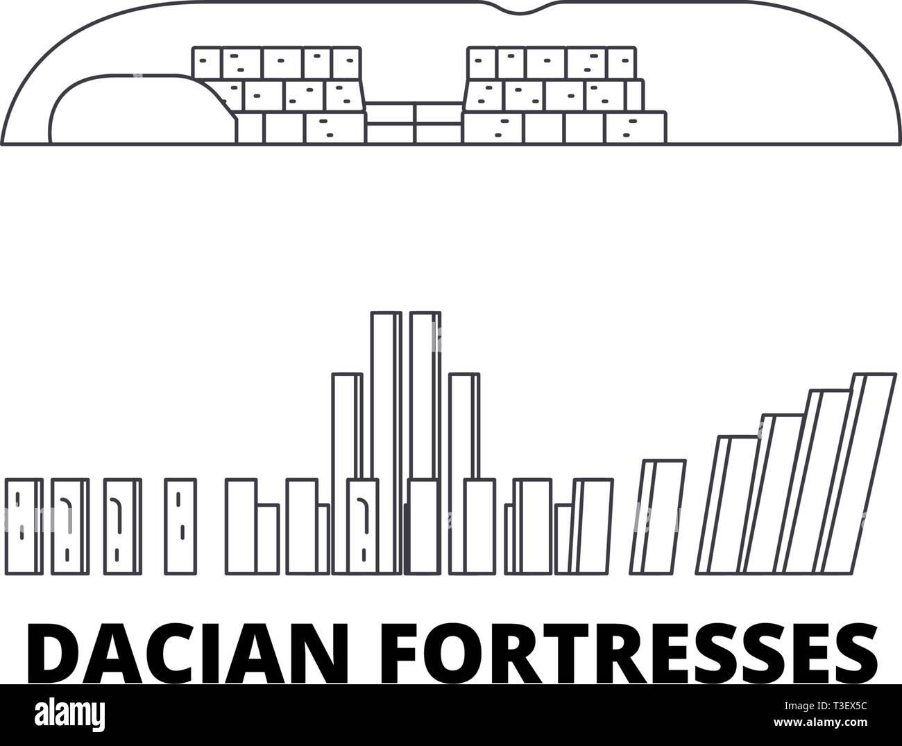 Romania, Dacian Fortresses, Orastie Mountains line travel skyline set. Romania, Dacian Fortresses, Orastie Mountains outline city vector illustration Stock Vector