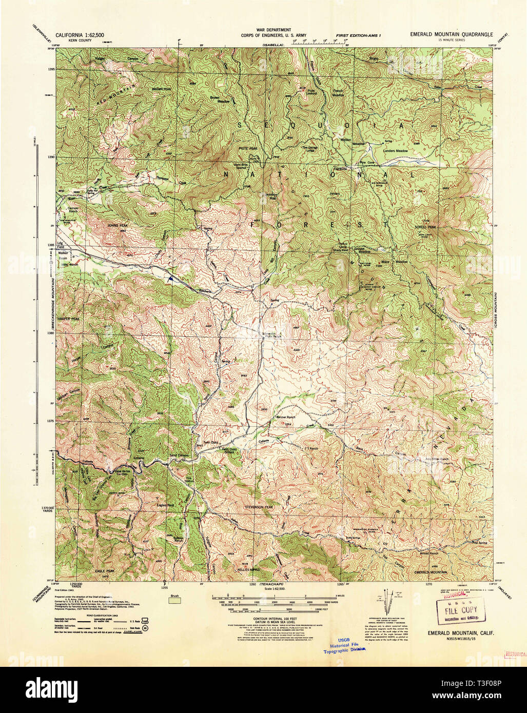 USGS TOPO Map California CA Emerald Mtn 297408 1943 62500 ... Map Of Emerald County on map of forest fires, map of ambergris, map of bay village, map of log country cove,