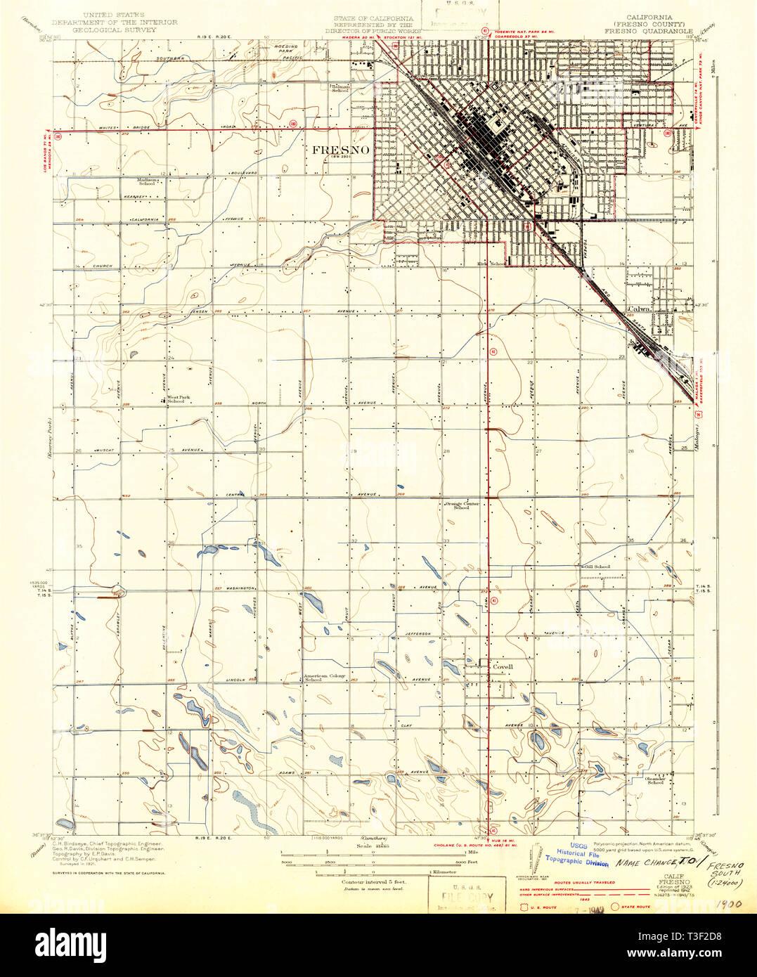 Map Of California Fresno.Usgs Topo Map California Ca Fresno 296106 1923 31680 Restoration
