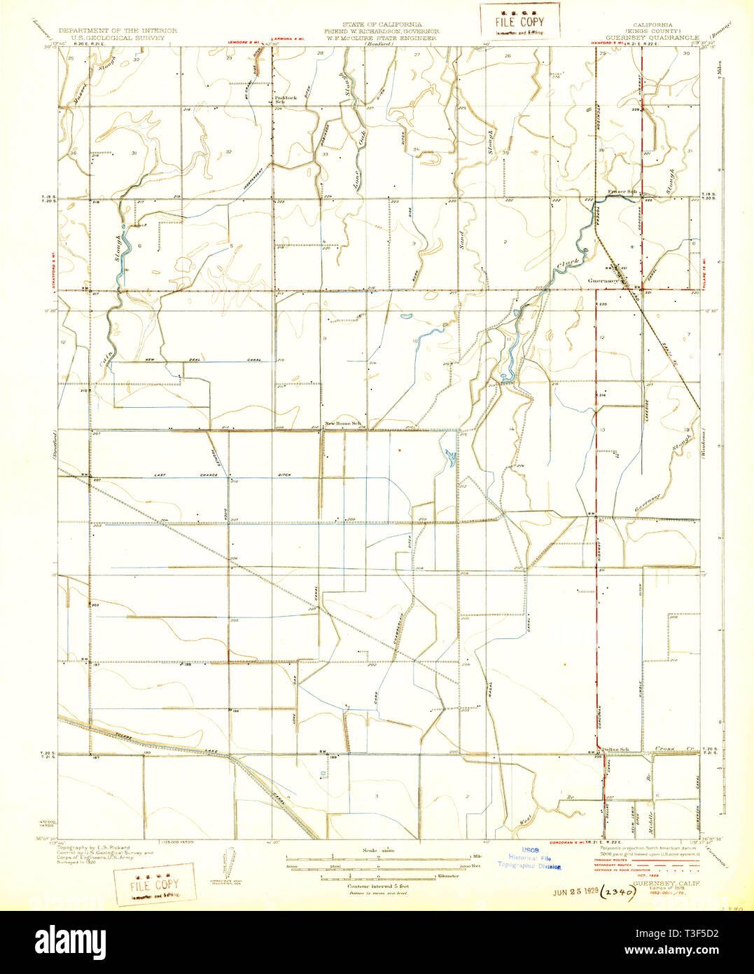 USGS TOPO Map California CA Guernsey 296135 1929 31680 ... Topo Map Of Guernsey on