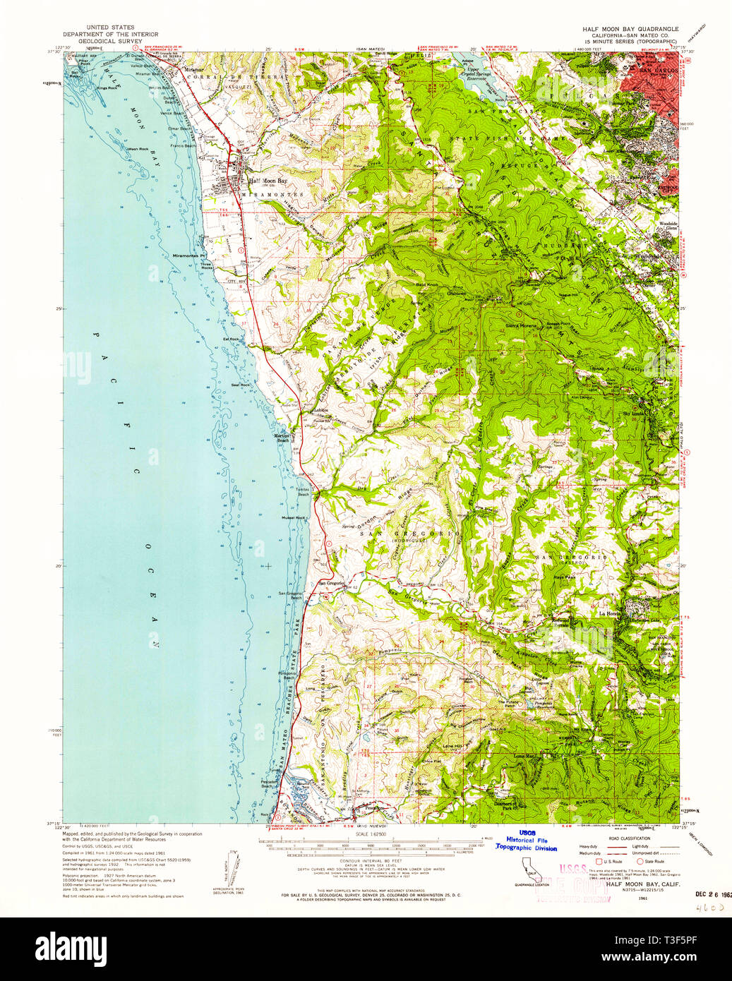 USGS TOPO Map California CA Half Moon Bay 297625 1961 62500
