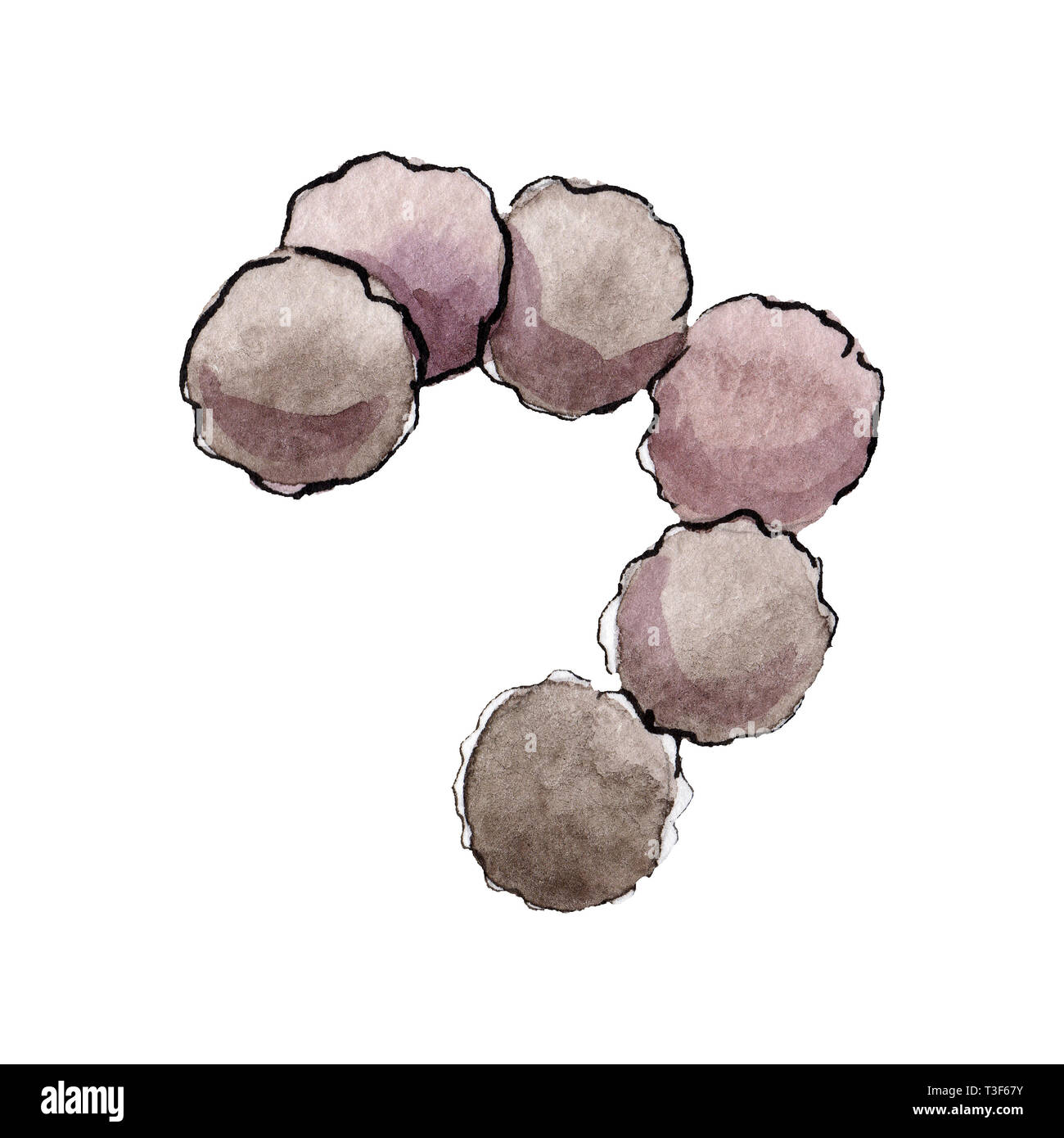 Microbe or germ hand drawn illustration. Watercolor background set. Isolated microorganism illustration element. - Stock Image