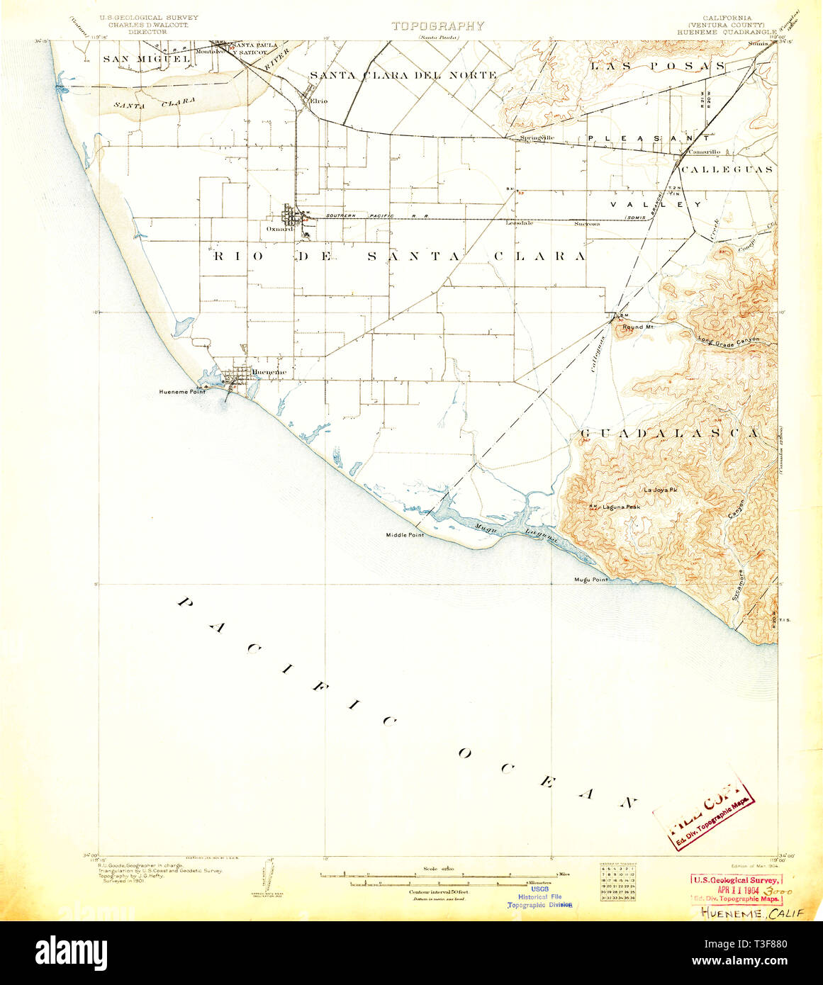 USGS TOPO Map California CA Hueneme 297743 1904 62500 Restoration - Stock Image