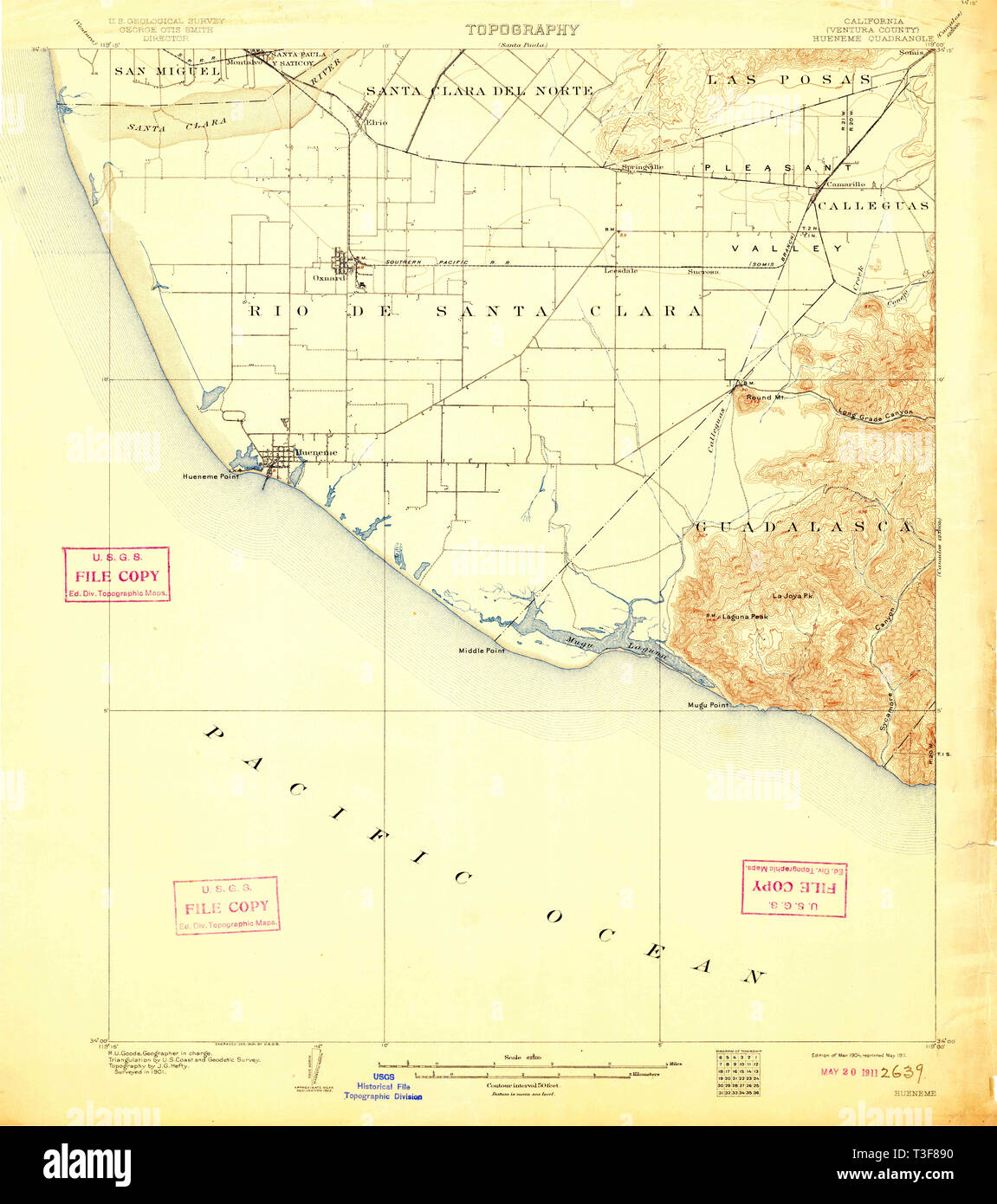 USGS TOPO Map California CA Hueneme 297744 1904 62500 Restoration - Stock Image