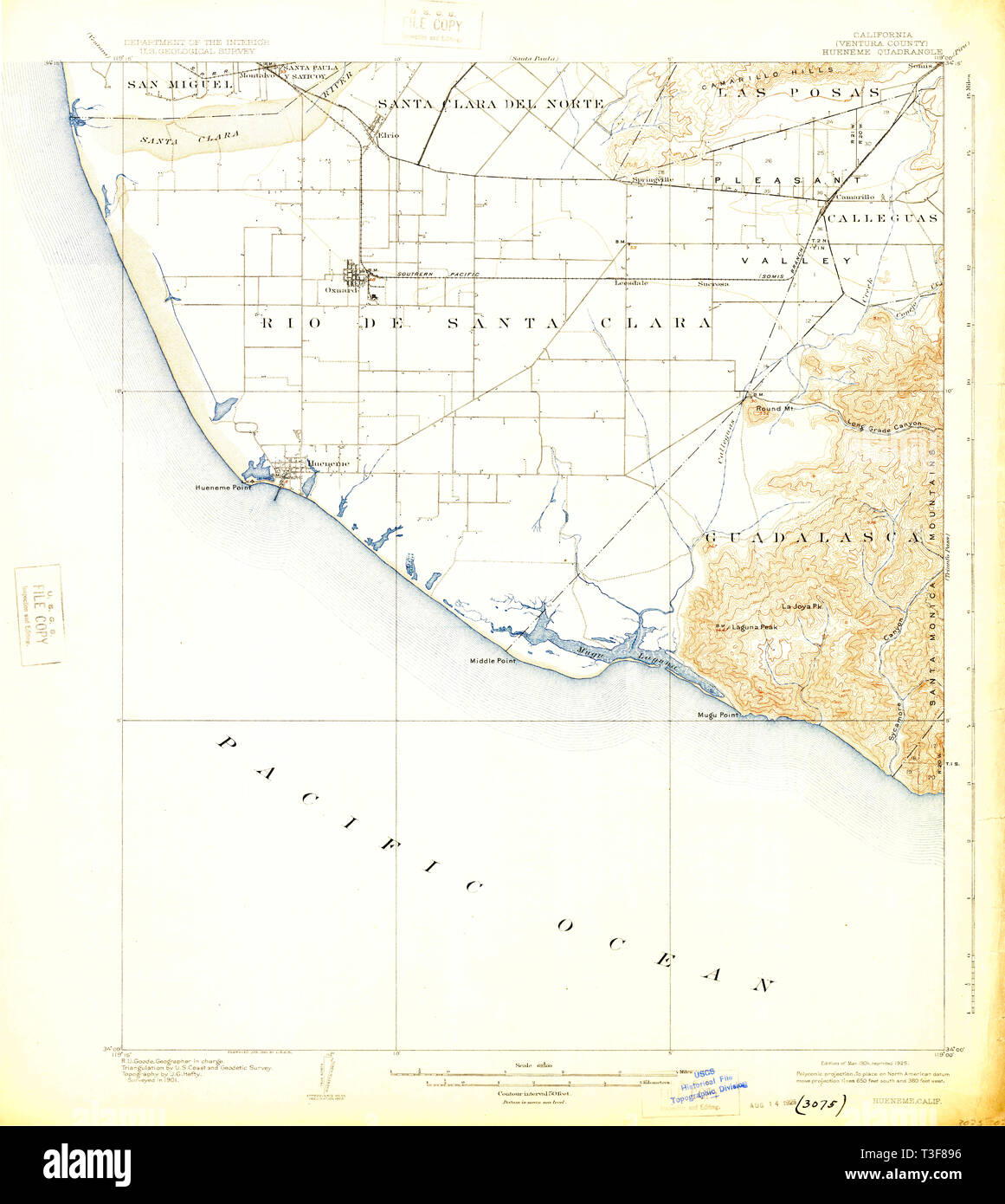 USGS TOPO Map California CA Hueneme 297745 1904 62500 Restoration - Stock Image