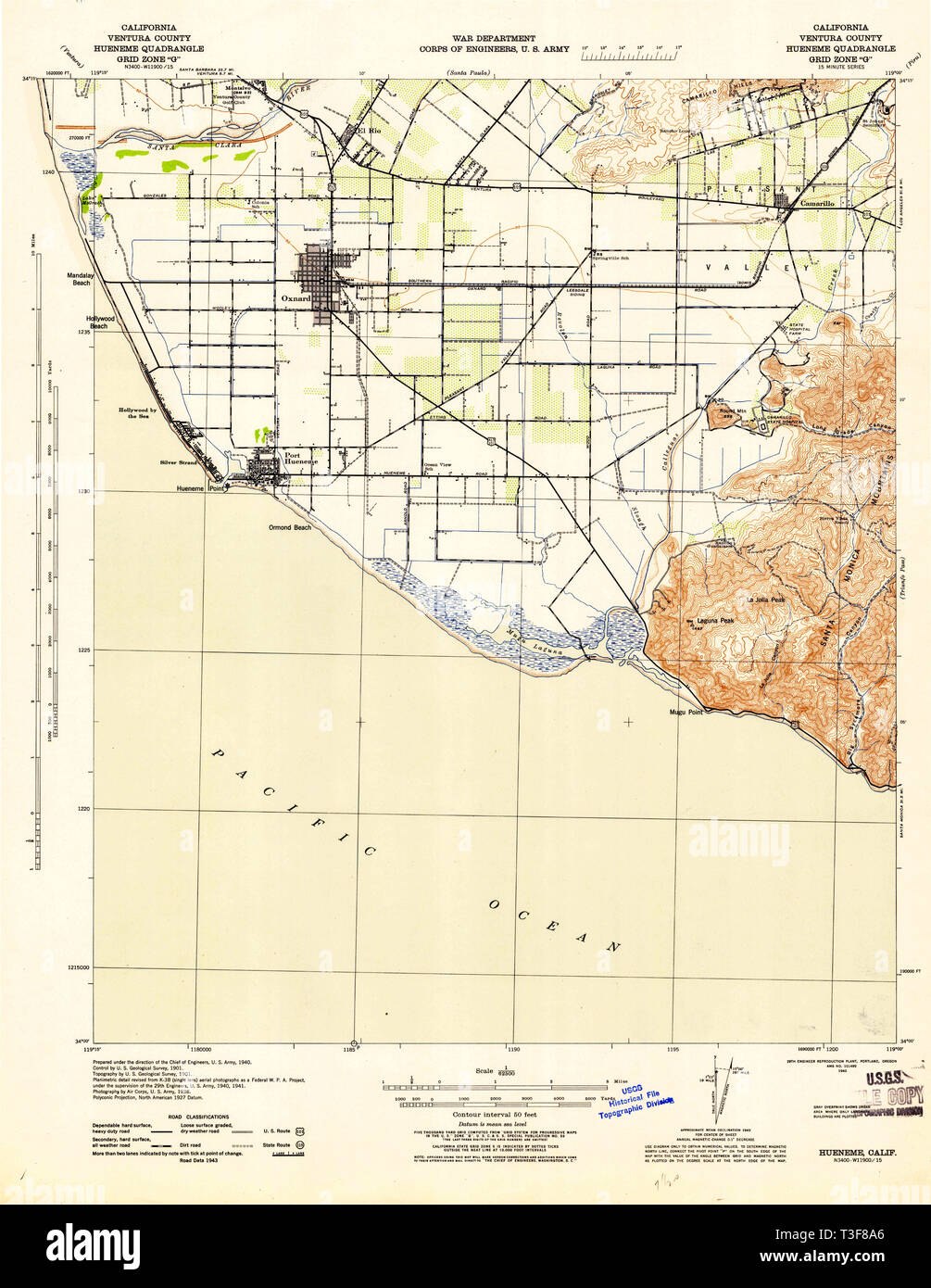 USGS TOPO Map California CA Hueneme 297747 1943 62500 Restoration - Stock Image