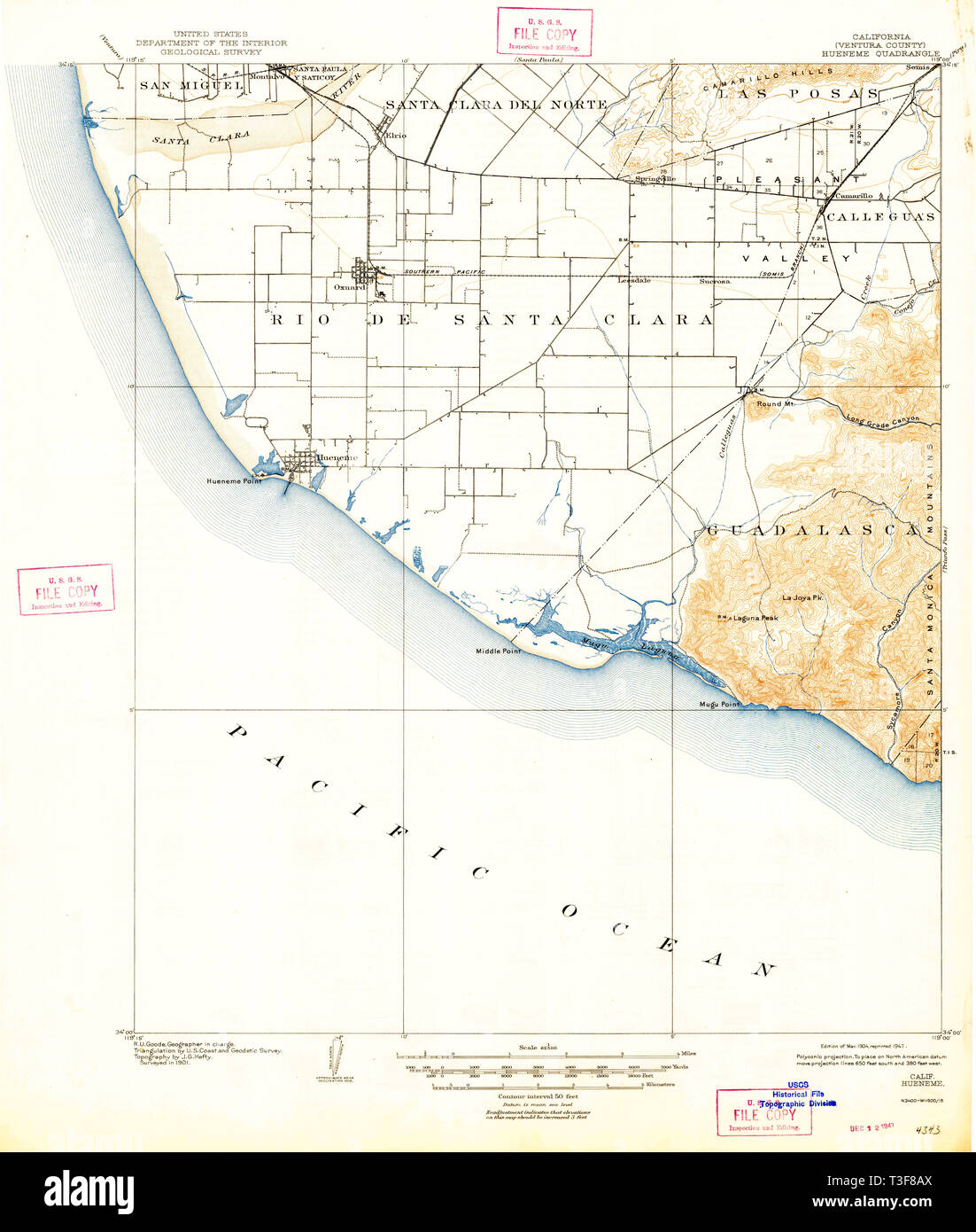 USGS TOPO Map California CA Hueneme 297748 1904 62500 Restoration - Stock Image