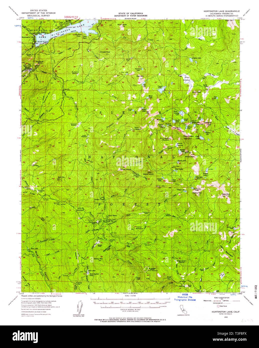 Usgs Topo Map California Ca Huntington Lake 297754 1953 62500 Restoration Stock Photo Alamy