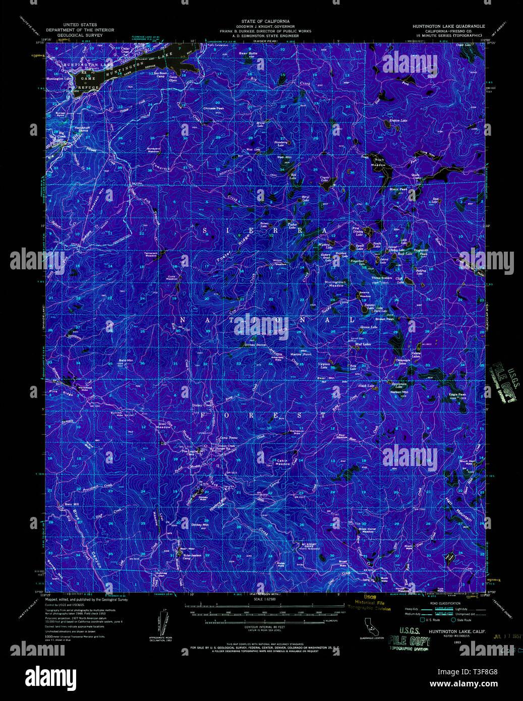 Usgs Topo Map California Ca Huntington Lake 297755 1953 62500 Inverted Restoration Stock Photo Alamy
