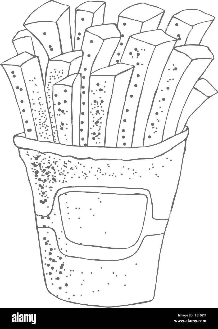 Illustration of hand drawn french fries potato. Sketched fast food. - Stock Vector