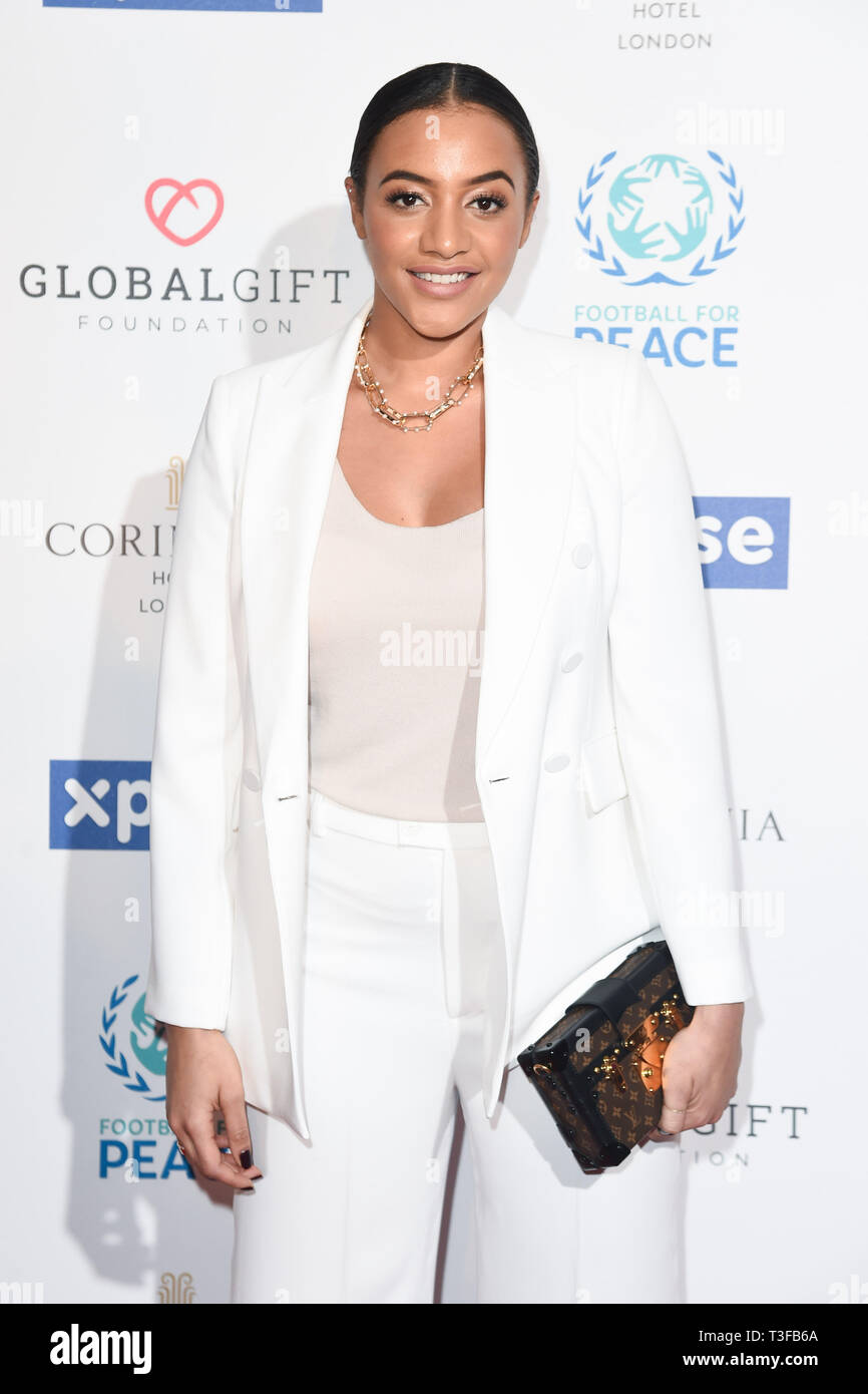 London, UK. 08th Apr, 2019. LONDON, UK. April 08, 2019: Amal Fashanu arriving for the Football for Peace initiative dinner by Global Gift Foundation at the Corinthia Hotel, London. Picture: Steve Vas/Featureflash Credit: Paul Smith/Alamy Live News Stock Photo