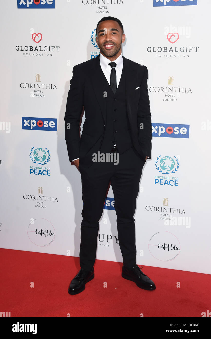 London, UK. 08th Apr, 2019. LONDON, UK. April 08, 2019: Calum Wilson arriving for the Football for Peace initiative dinner by Global Gift Foundation at the Corinthia Hotel, London. Picture: Steve Vas/Featureflash Credit: Paul Smith/Alamy Live News Stock Photo