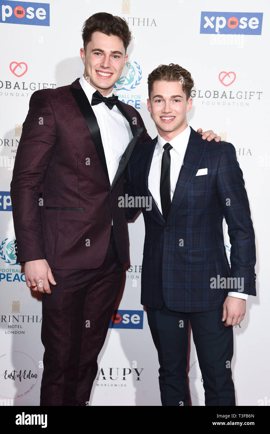 London, UK. 08th Apr, 2019. LONDON, UK. April 08, 2019: Cutis & AJ Pritchard arriving for the Football for Peace initiative dinner by Global Gift Foundation at the Corinthia Hotel, London. Picture: Steve Vas/Featureflash Credit: Paul Smith/Alamy Live News Stock Photo