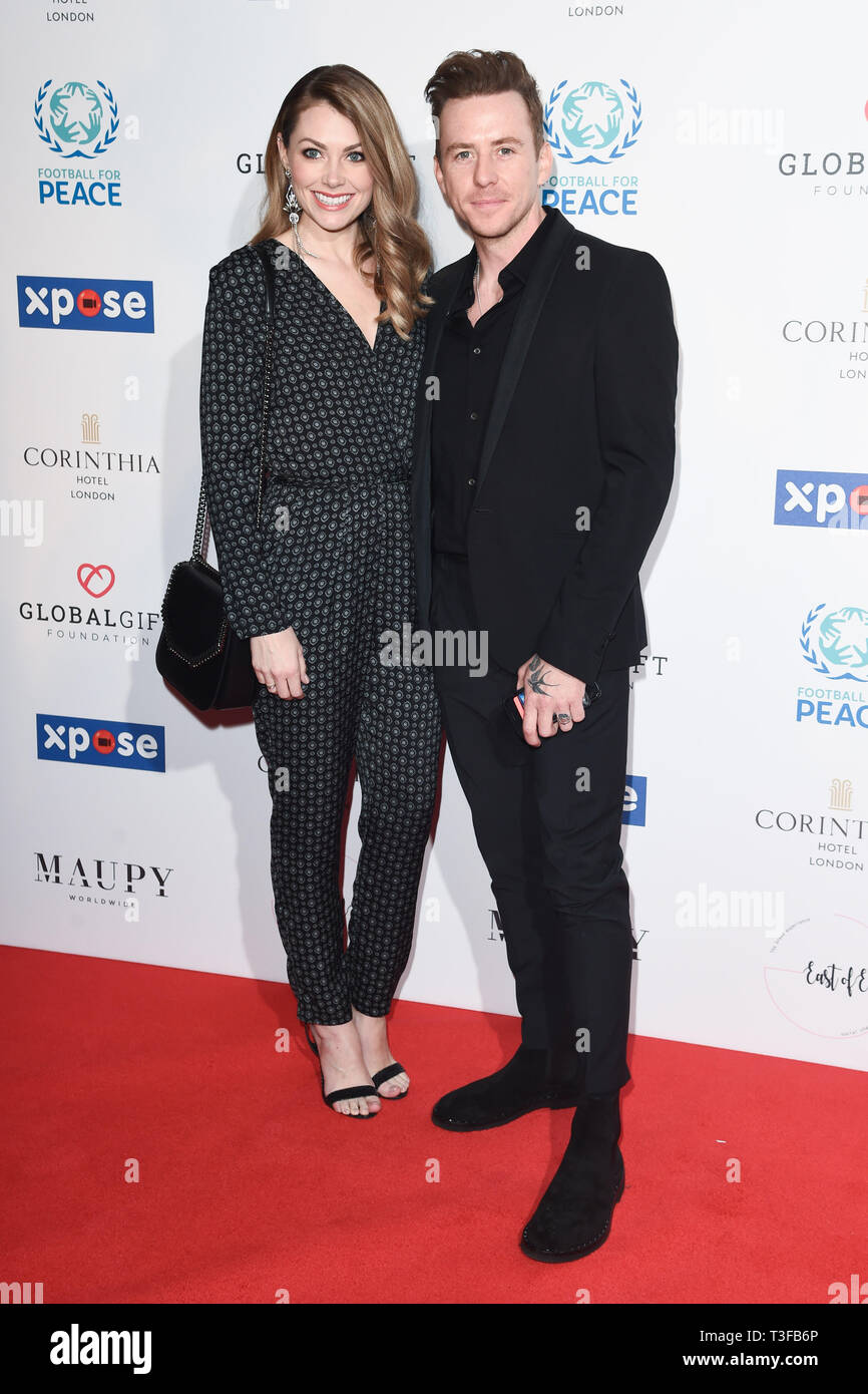 London, UK. 08th Apr, 2019. LONDON, UK. April 08, 2019: Danny Jones arriving for the Football for Peace initiative dinner by Global Gift Foundation at the Corinthia Hotel, London. Picture: Steve Vas/Featureflash Credit: Paul Smith/Alamy Live News Stock Photo