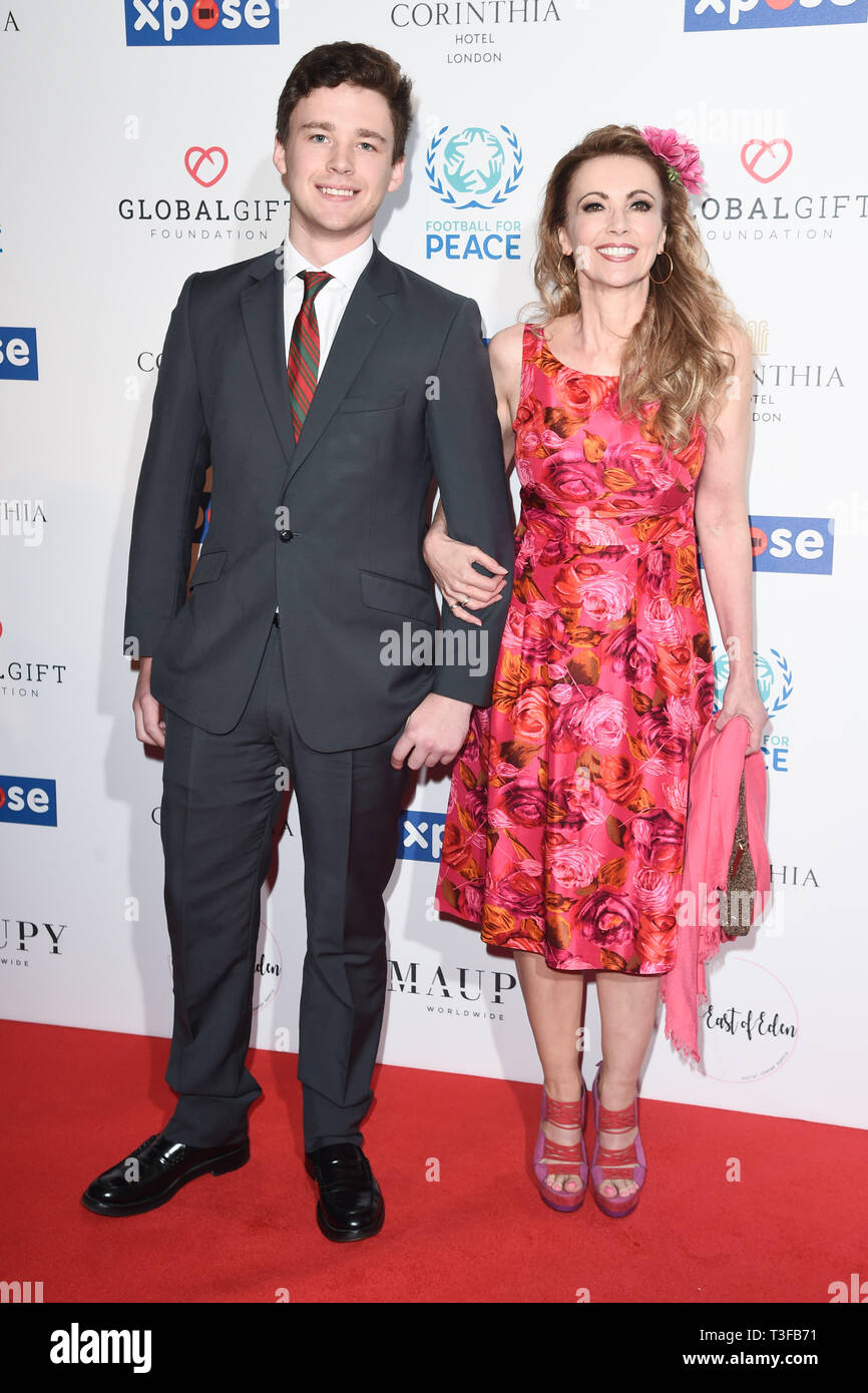 London, UK. 08th Apr, 2019. LONDON, UK. April 08, 2019: Emma Samms & Son arriving for the Football for Peace initiative dinner by Global Gift Foundation at the Corinthia Hotel, London. Picture: Steve Vas/Featureflash Credit: Paul Smith/Alamy Live News Stock Photo