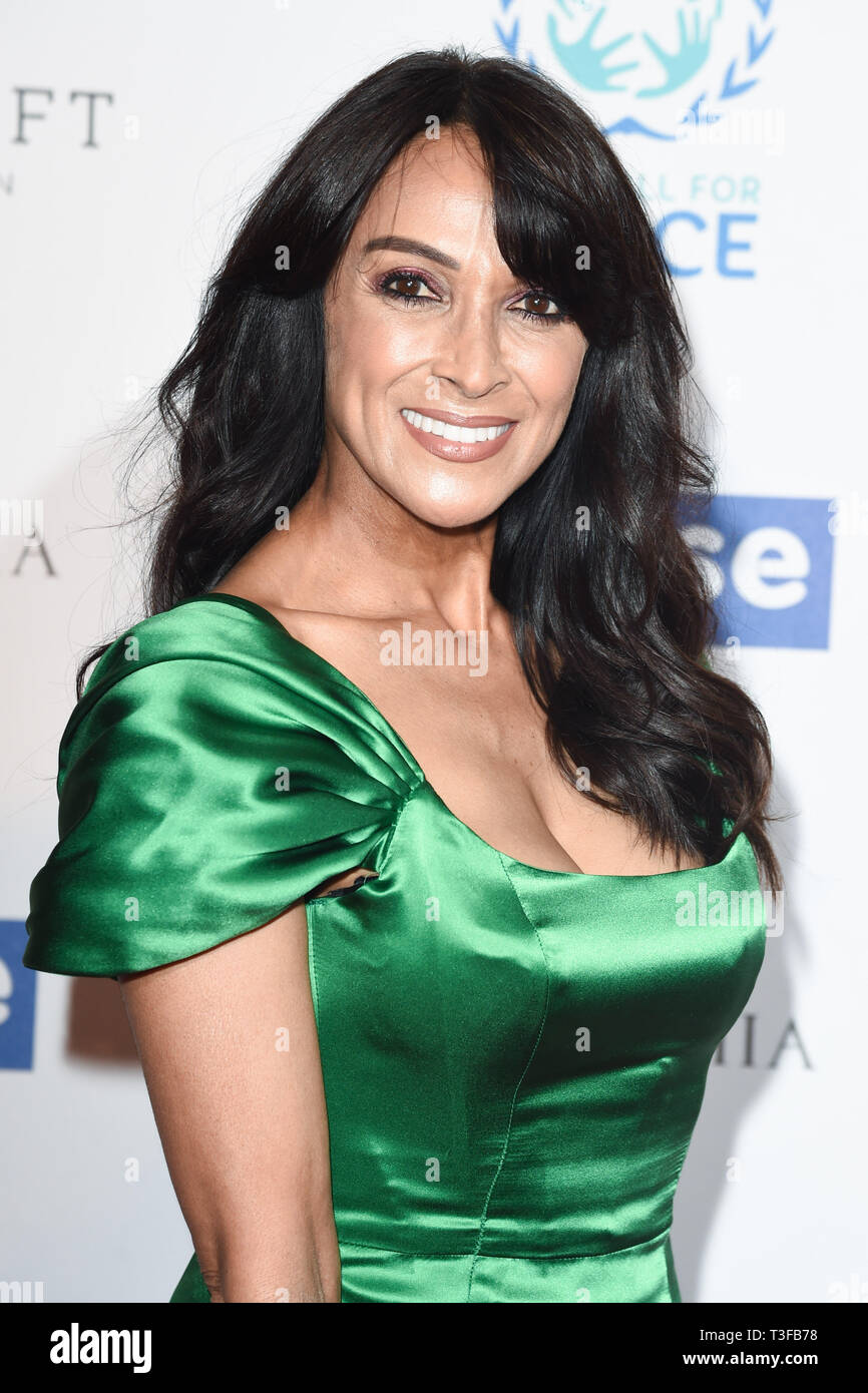 London, UK. 08th Apr, 2019. LONDON, UK. April 08, 2019: Jackie St Clair arriving for the Football for Peace initiative dinner by Global Gift Foundation at the Corinthia Hotel, London. Picture: Steve Vas/Featureflash Credit: Paul Smith/Alamy Live News Stock Photo
