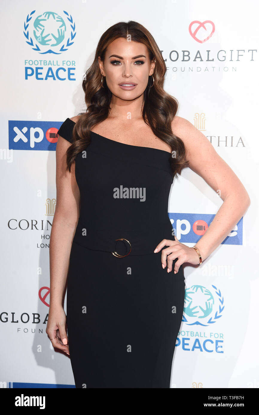 London, UK. 08th Apr, 2019. LONDON, UK. April 08, 2019: Jessica Wright arriving for the Football for Peace initiative dinner by Global Gift Foundation at the Corinthia Hotel, London. Picture: Steve Vas/Featureflash Credit: Paul Smith/Alamy Live News - Stock Image