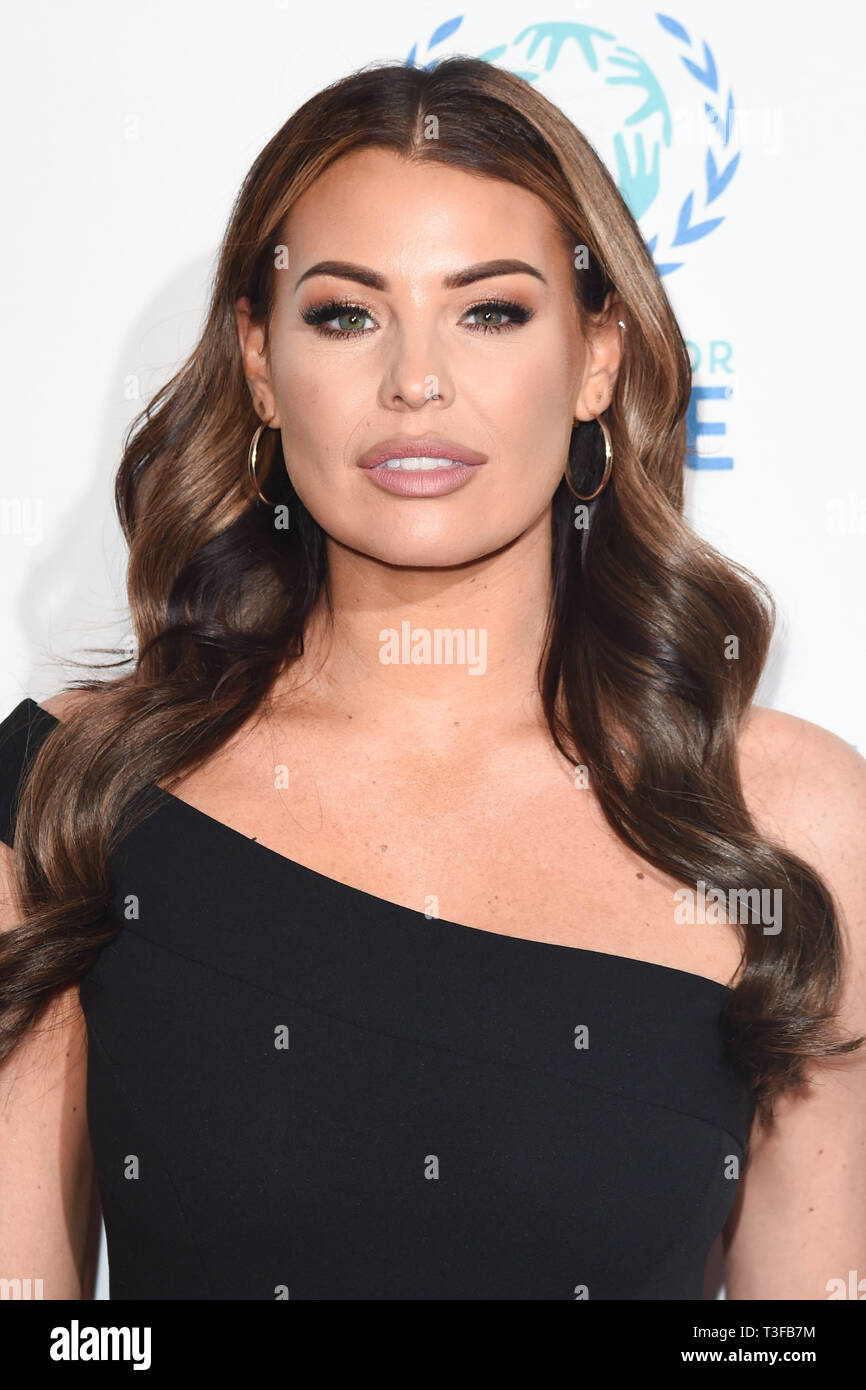 London, UK. 08th Apr, 2019. LONDON, UK. April 08, 2019: Jessica Wright arriving for the Football for Peace initiative dinner by Global Gift Foundation at the Corinthia Hotel, London. Picture: Steve Vas/Featureflash Credit: Paul Smith/Alamy Live News Stock Photo