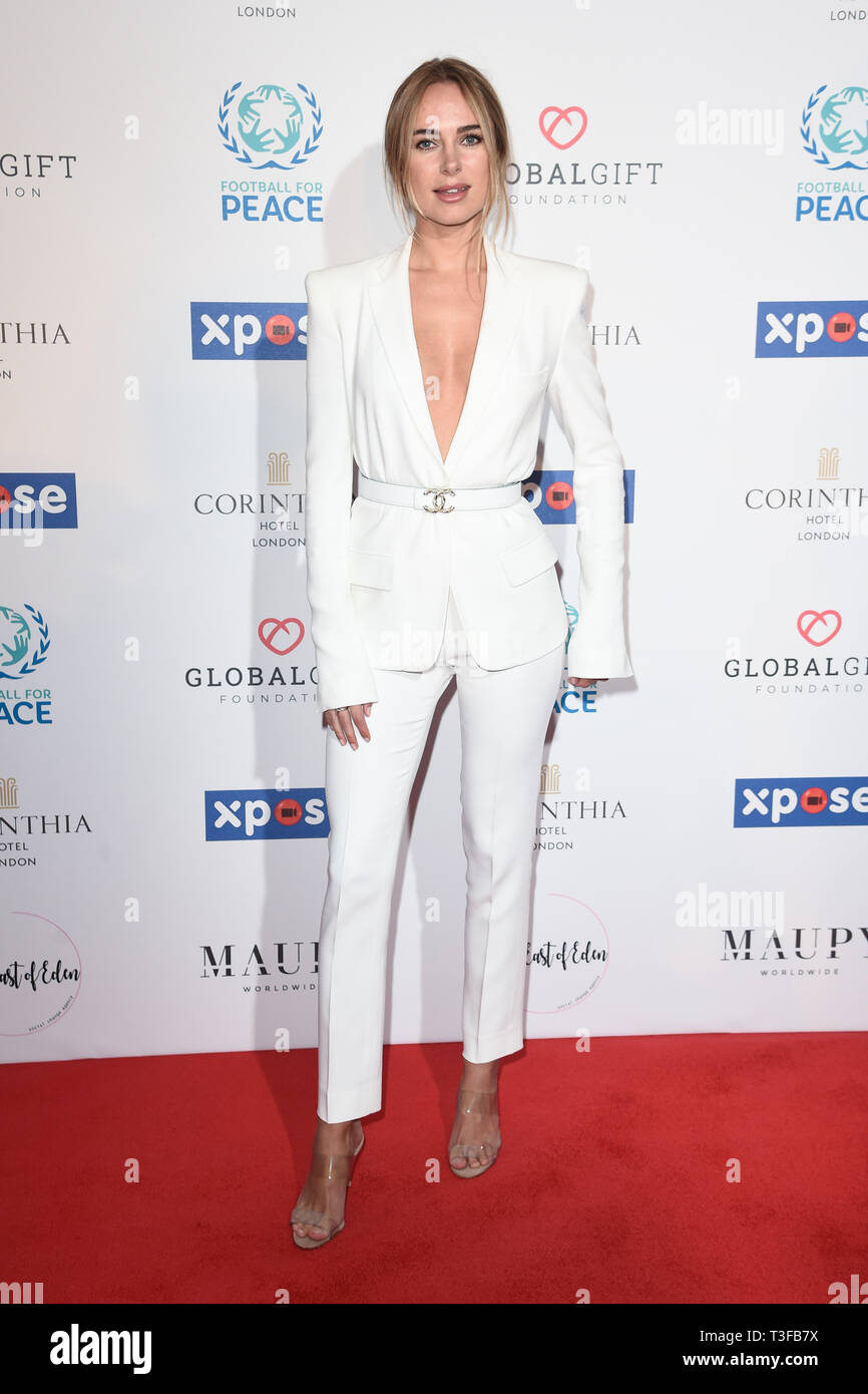 London, UK. 08th Apr, 2019. LONDON, UK. April 08, 2019: Kimberley Garner arriving for the Football for Peace initiative dinner by Global Gift Foundation at the Corinthia Hotel, London. Picture: Steve Vas/Featureflash Credit: Paul Smith/Alamy Live News Stock Photo