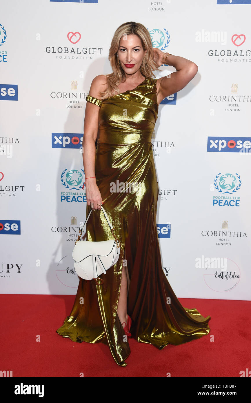 London, UK. 08th Apr, 2019. LONDON, UK. April 08, 2019: Laura Pradelska arriving for the Football for Peace initiative dinner by Global Gift Foundation at the Corinthia Hotel, London. Picture: Steve Vas/Featureflash Credit: Paul Smith/Alamy Live News Stock Photo