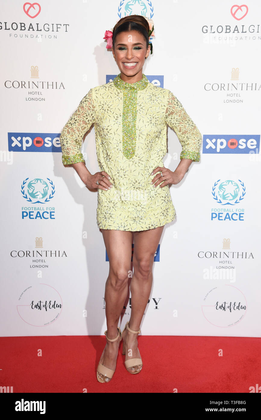 London, UK. 08th Apr, 2019. LONDON, UK. April 08, 2019: Melody Thornton arriving for the Football for Peace initiative dinner by Global Gift Foundation at the Corinthia Hotel, London. Picture: Steve Vas/Featureflash Credit: Paul Smith/Alamy Live News Stock Photo