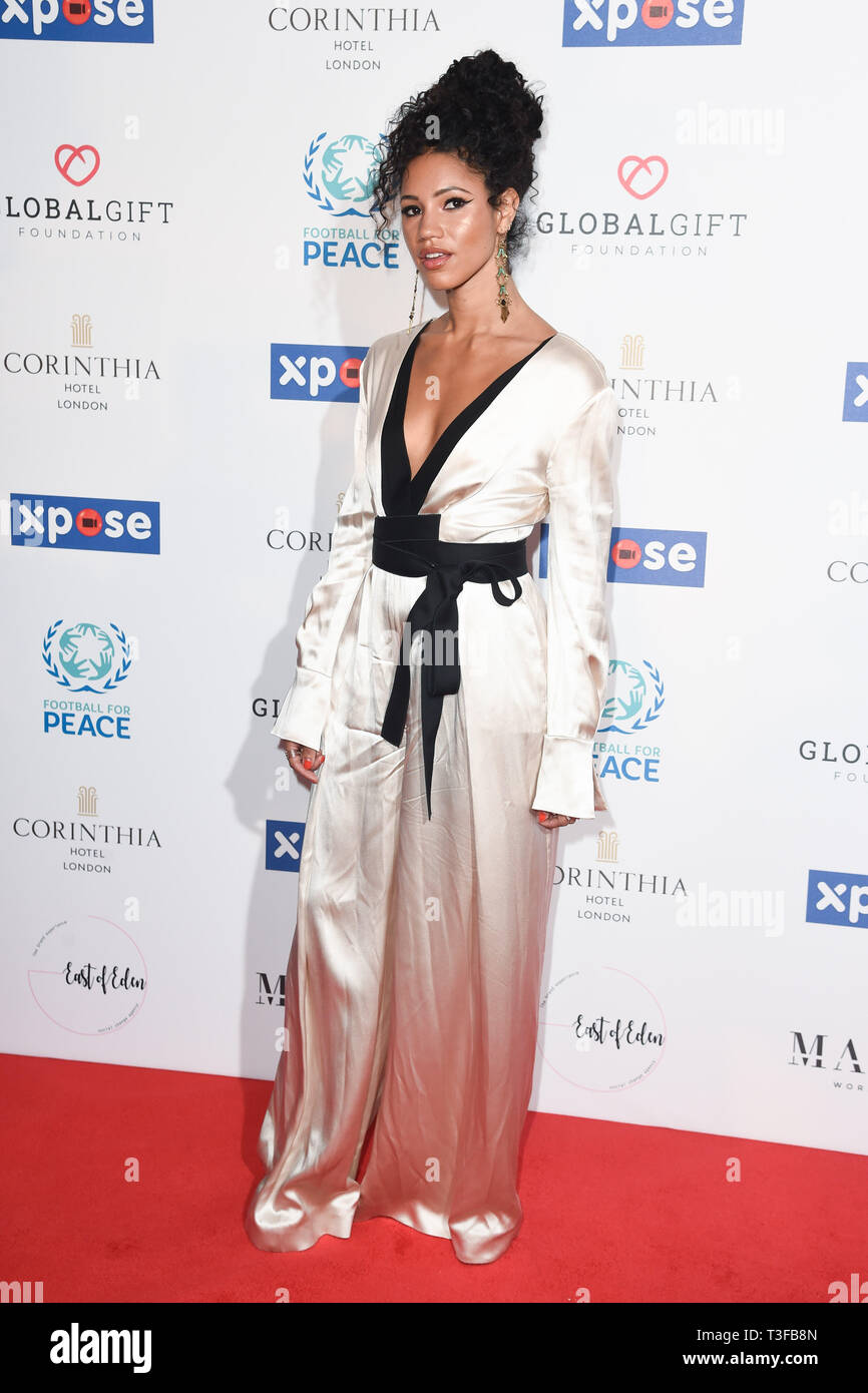 London, UK. 08th Apr, 2019. LONDON, UK. April 08, 2019: Vick Hope arriving for the Football for Peace initiative dinner by Global Gift Foundation at the Corinthia Hotel, London. Picture: Steve Vas/Featureflash Credit: Paul Smith/Alamy Live News Stock Photo