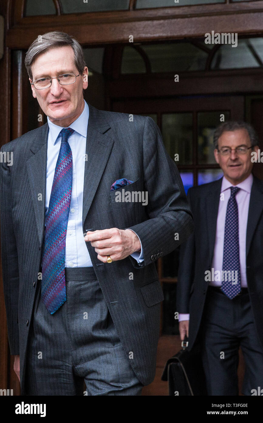 London, UK. 9th April 2019. Dominic Grieve, Conservative MP for Beaconsfield, leaves the People's Vote rally in Westminster.  Credit: Mark Kerrison/Alamy Live News Stock Photo