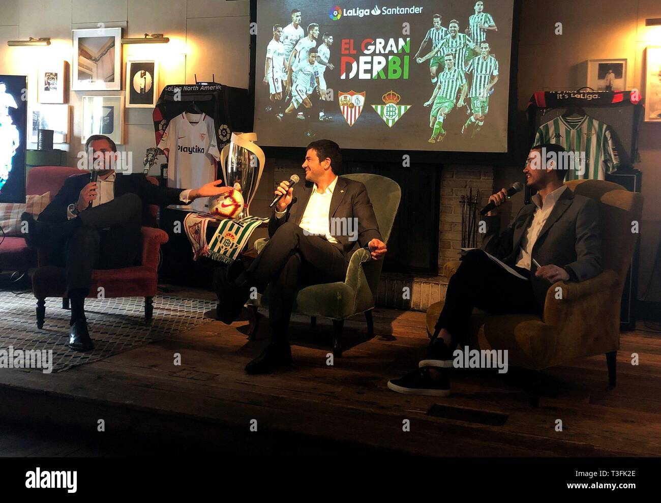 New York, USA. 09th Apr, 2019. LaLiga North America CEO Boris Gartner (L), Real Betis Business Chief Ramon Alarcon (C) and Sevilla's Marketing Director Ramon Loarte (R) speak during an event organized by LaLiga, in New York, United States, 09 April 2019. Credit: Helen Cook/EFE/Alamy Live News Stock Photo