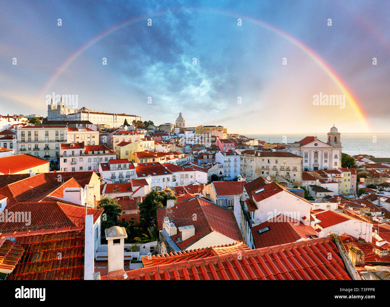 Lisbon with rainbow, Portugal Stock Photo