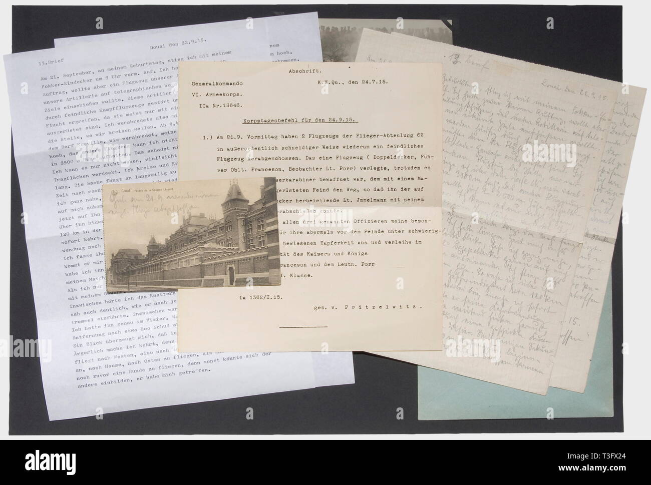 First Lieutenant Max Immelmann (1890 - 1916), a letter and photos of his third air victory on 21.9.1915 Three pages on chequered paper, written in pencil, inscribed and dated '13th letter - Douai, 22.9.15' Immelmann describes in full detail how he comes to the aid of an artillery aircraft and causes a Bristol biplane to crash after a suspenseful air battle. Also the transcript of a corps day order from 24.9.1915 with the mention of his victory and a postcard, which Max Immelmann sent to his brother Franz, dated 27.9.1915 and signed 'Max', on the , Additional-Rights-Clearance-Info-Not-Available - Stock Image
