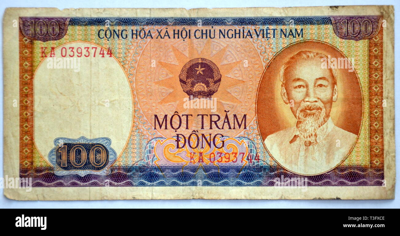 Vietnamese 100 Dong Banknote, First Issued 1980, by the State Bank of Vietnam - Stock Image